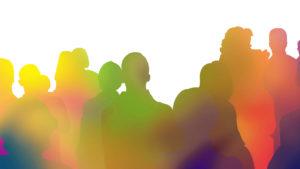 zuschauer silhouette bunt regenbogen